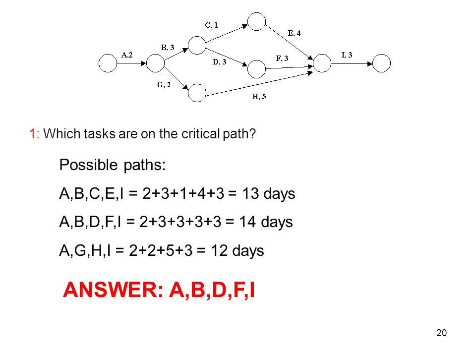 ANSWER: A,B,D,F,I Possible paths: A,B,C,E,I = 2+3+1+4+3 = 13 days