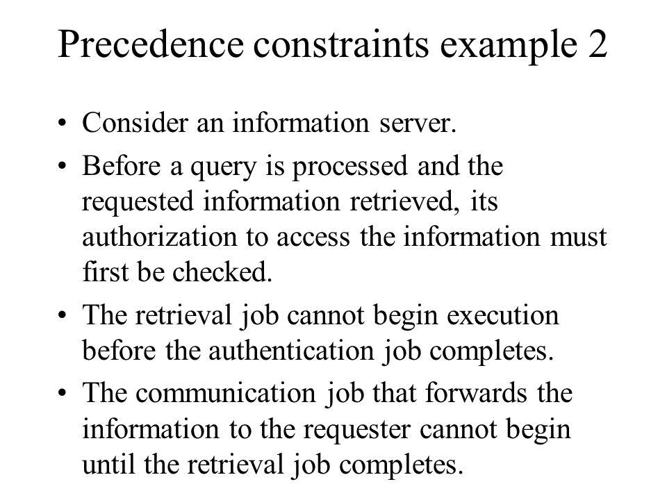 Precedence constraints example 2