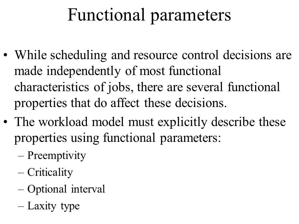 Functional parameters