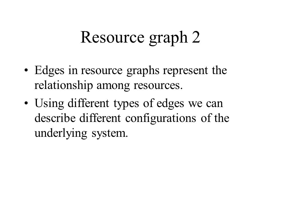 Resource graph 2 Edges in resource graphs represent the relationship among resources.