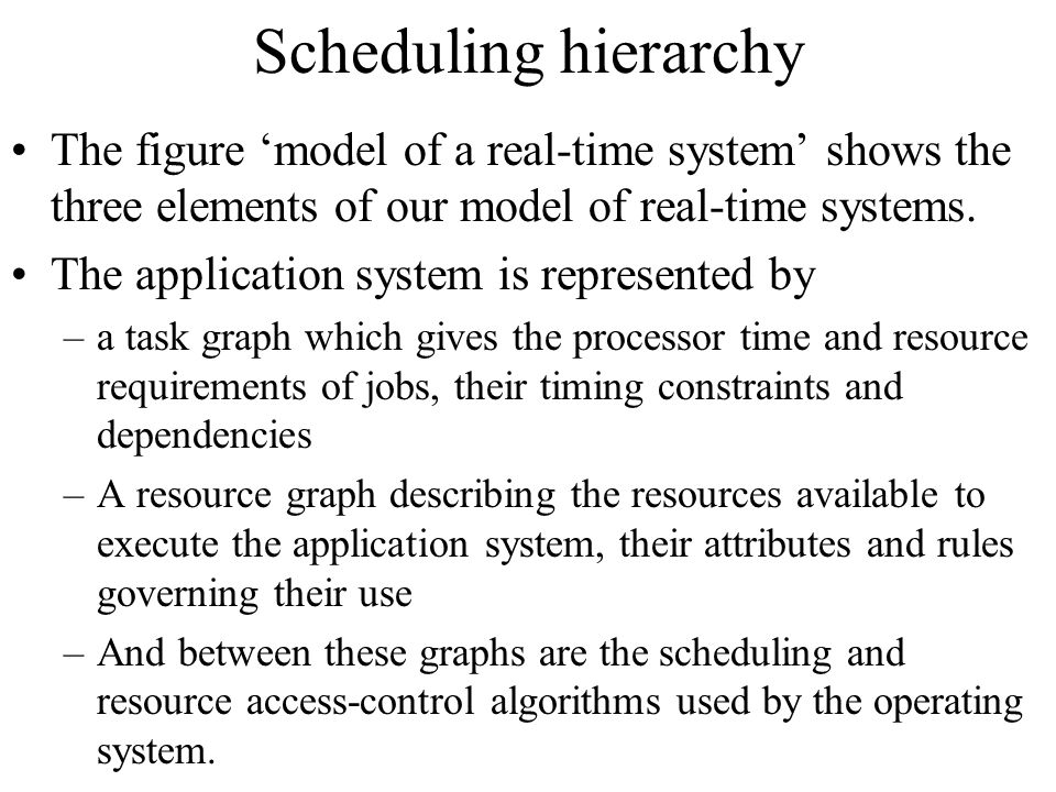 Scheduling hierarchy The figure 'model of a real-time system' shows the three elements of our model of real-time systems.