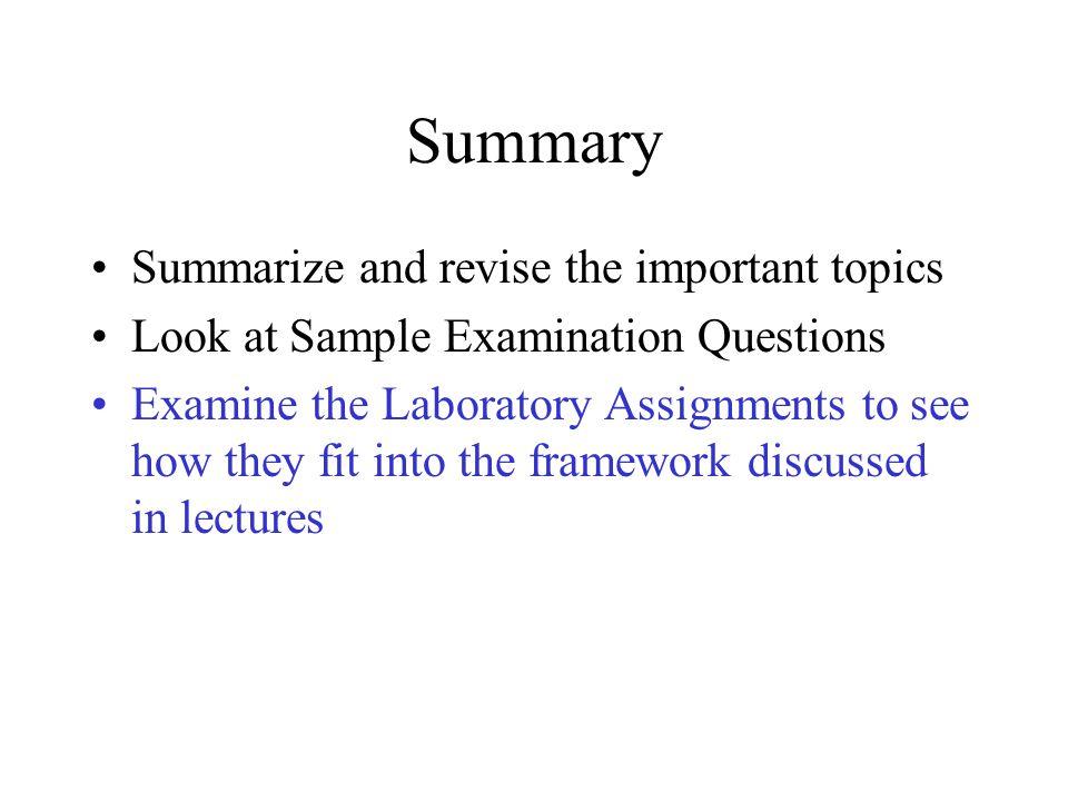 Summary Summarize and revise the important topics