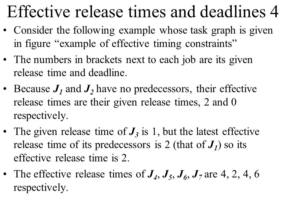 Effective release times and deadlines 4
