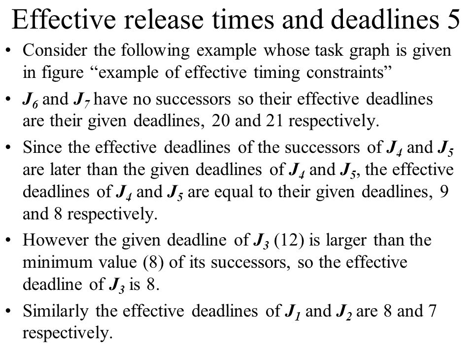Effective release times and deadlines 5