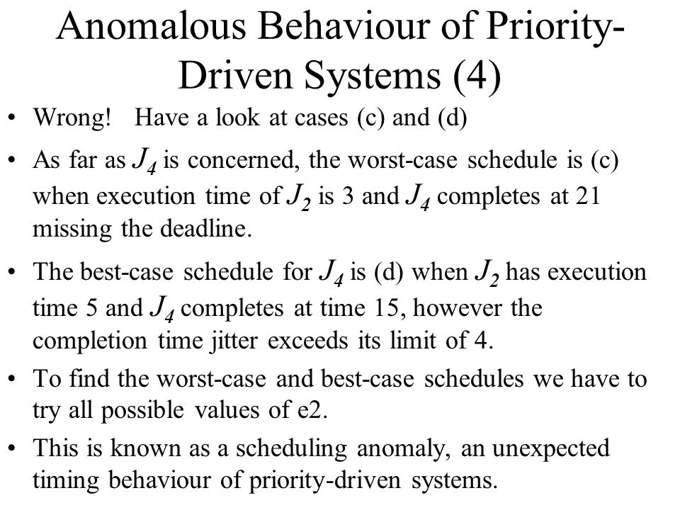 Anomalous Behaviour of Priority-Driven Systems (4)