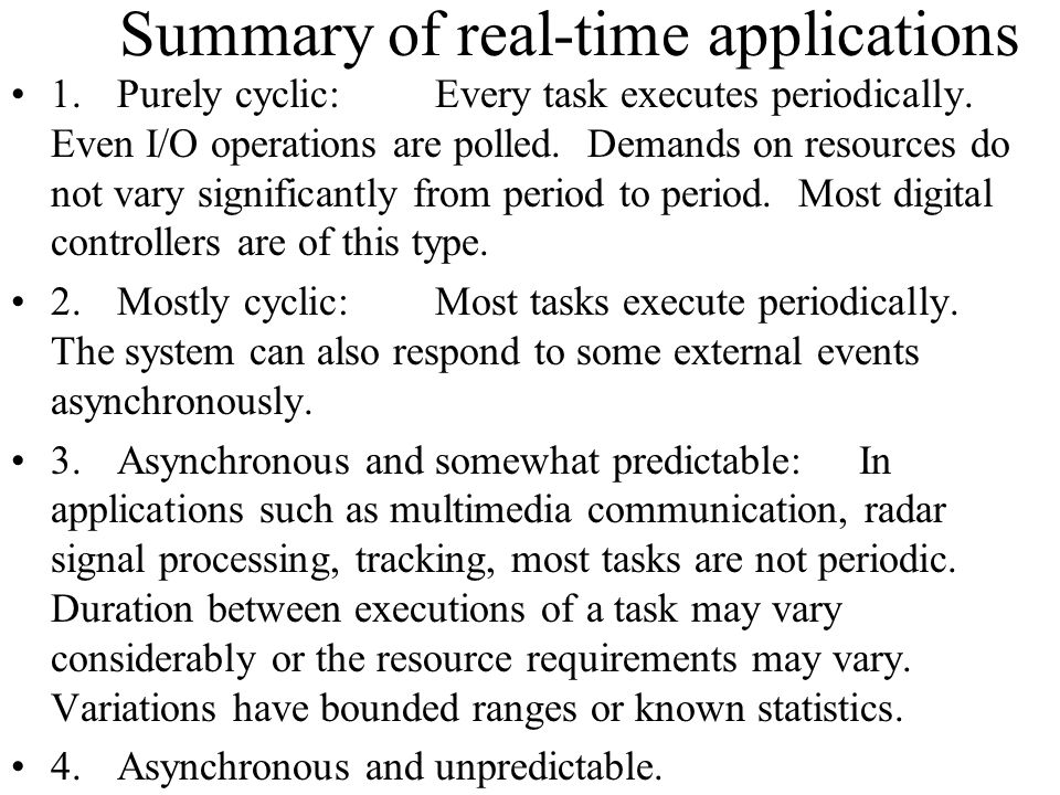 Summary of real-time applications