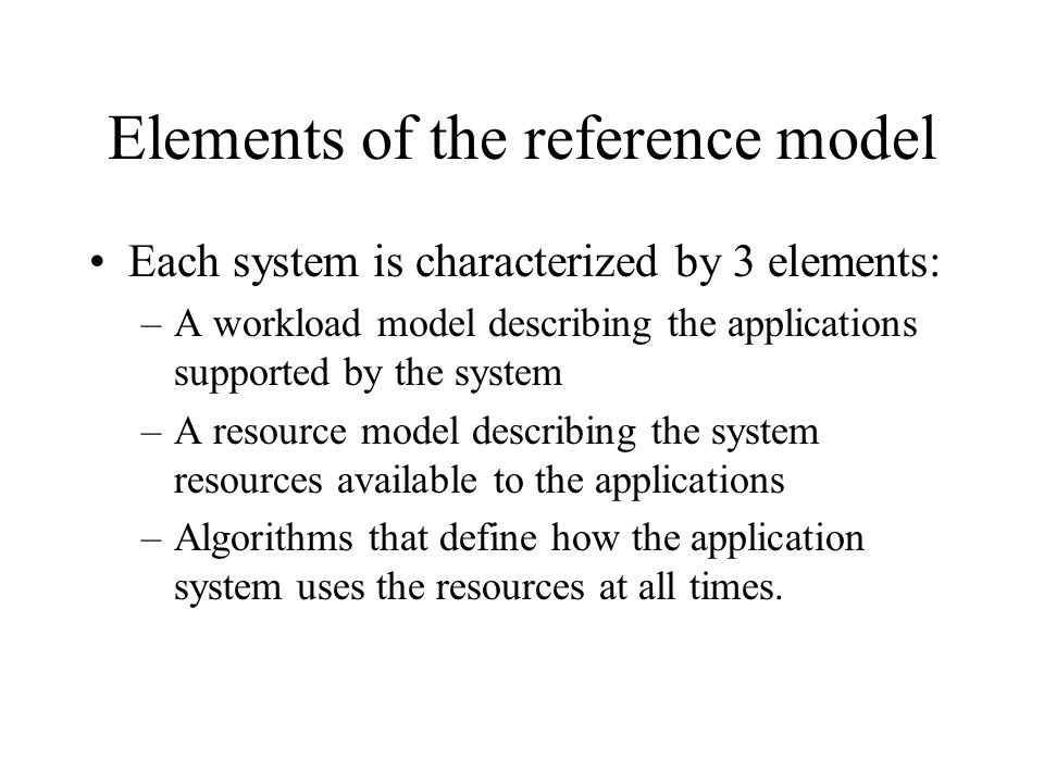 Elements of the reference model