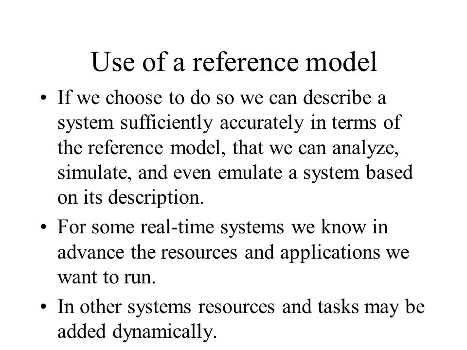 Use of a reference model
