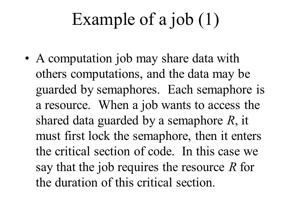 Example of a job (1)