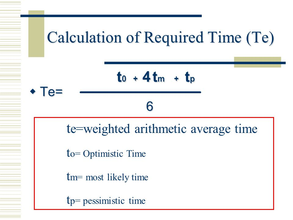 Calculation of Required Time (Te)