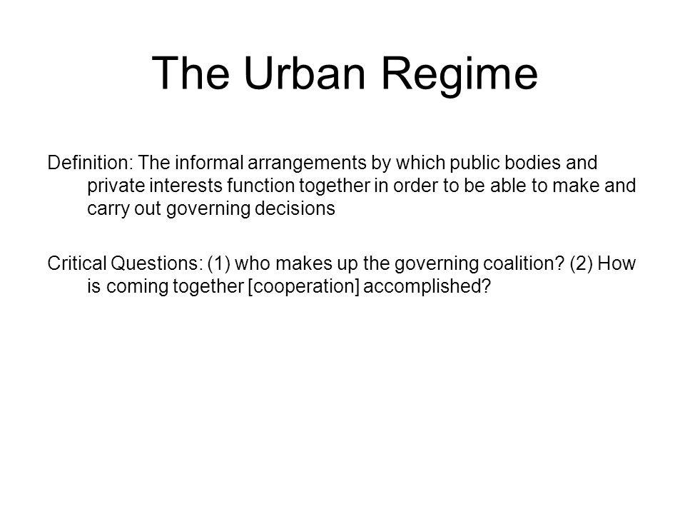 The Urban Regime