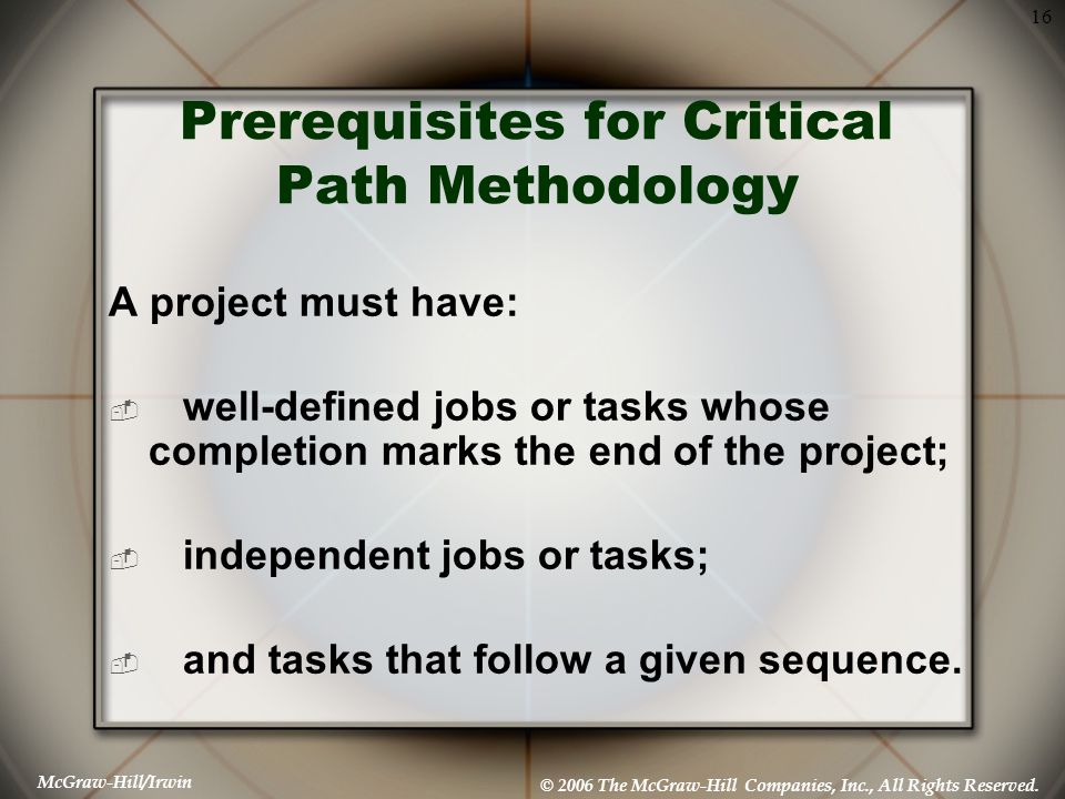 Prerequisites for Critical Path Methodology