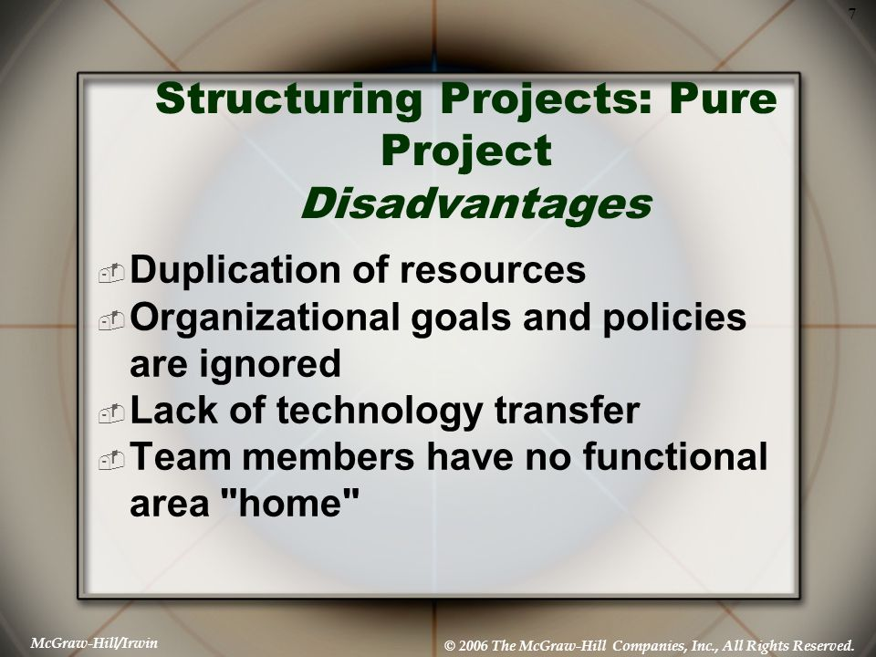 Structuring Projects: Pure Project Disadvantages