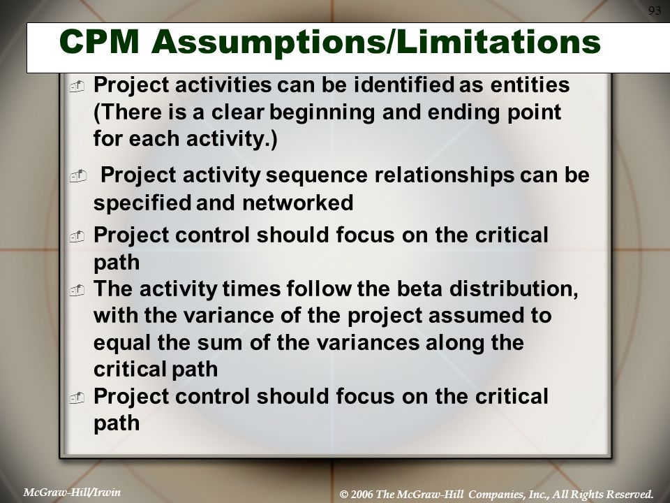 CPM Assumptions/Limitations