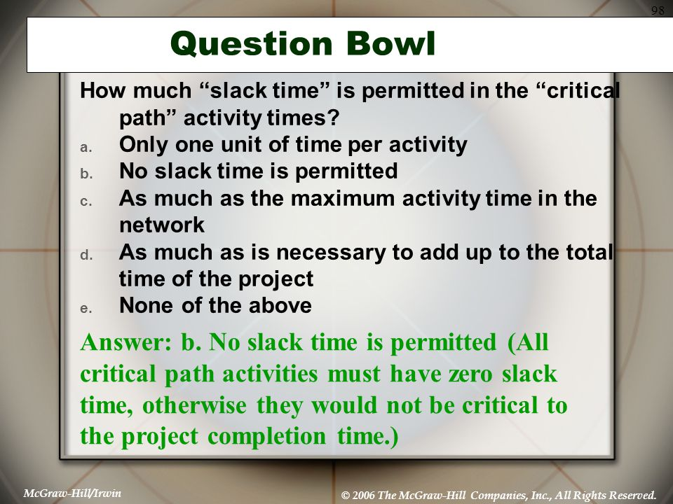 Question Bowl How much slack time is permitted in the critical path activity times Only one unit of time per activity.