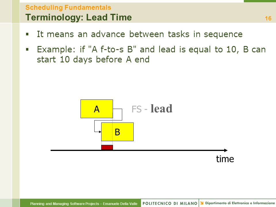 Scheduling Fundamentals Terminology: Lead Time