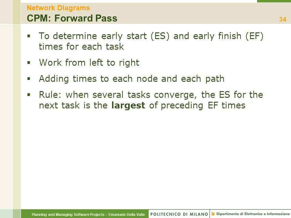 Network Diagrams CPM: Forward Pass