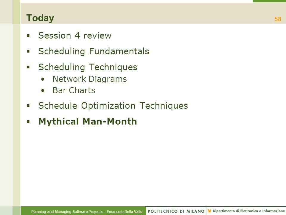 Today Session 4 review Scheduling Fundamentals Scheduling Techniques
