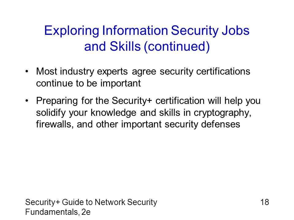 Exploring Information Security Jobs and Skills (continued)