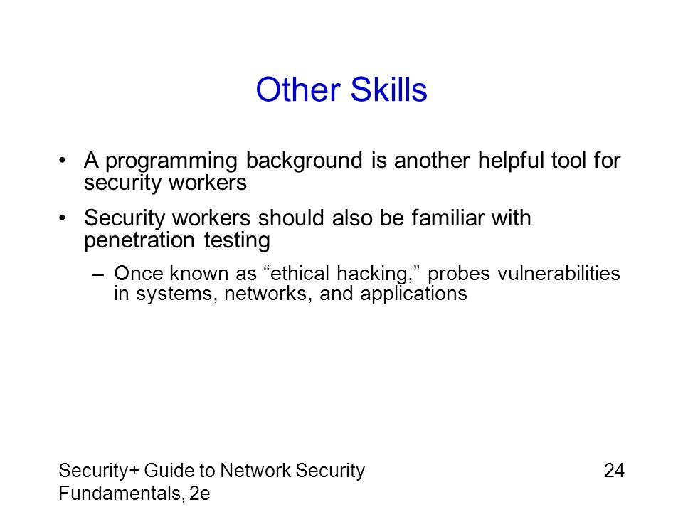 Other Skills A programming background is another helpful tool for security workers.