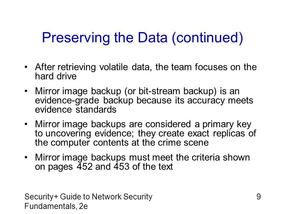 Preserving the Data (continued)