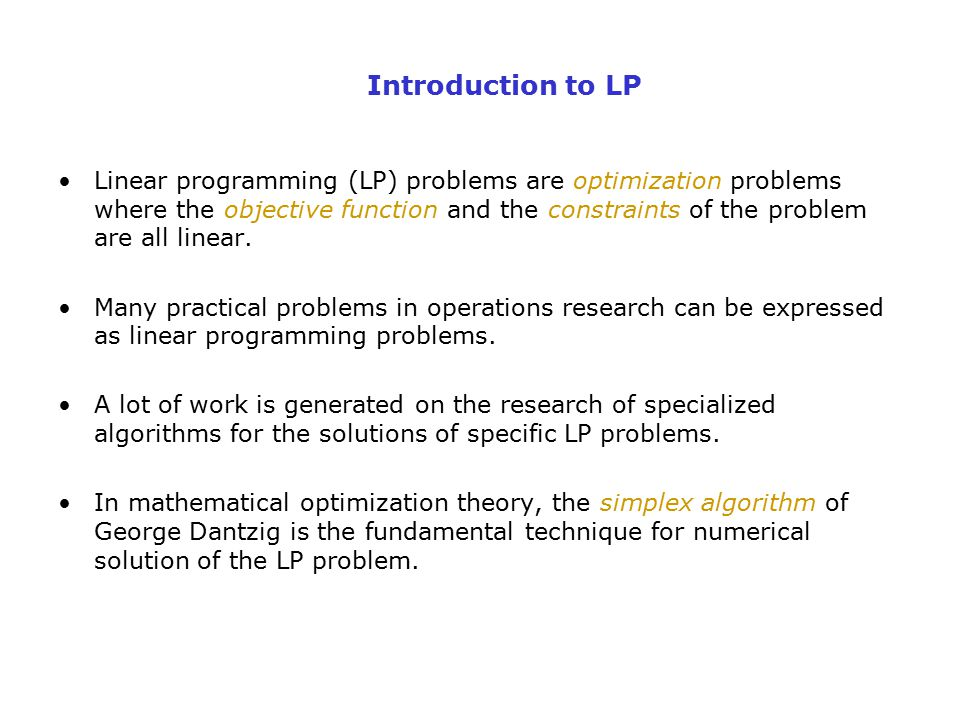 Introduction to LP