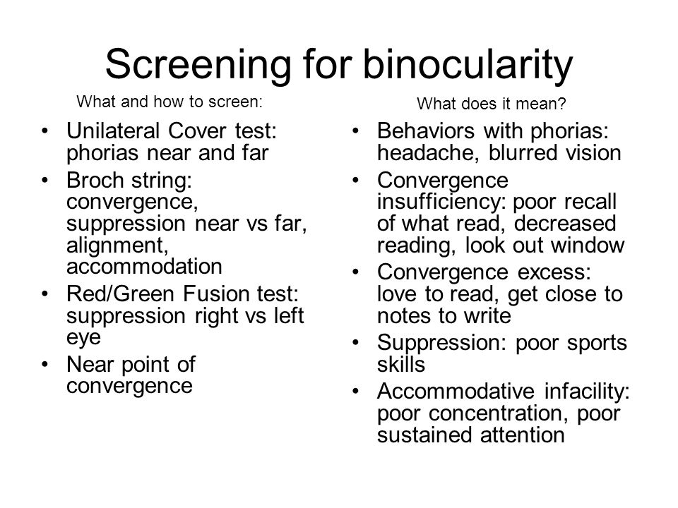 Screening for binocularity
