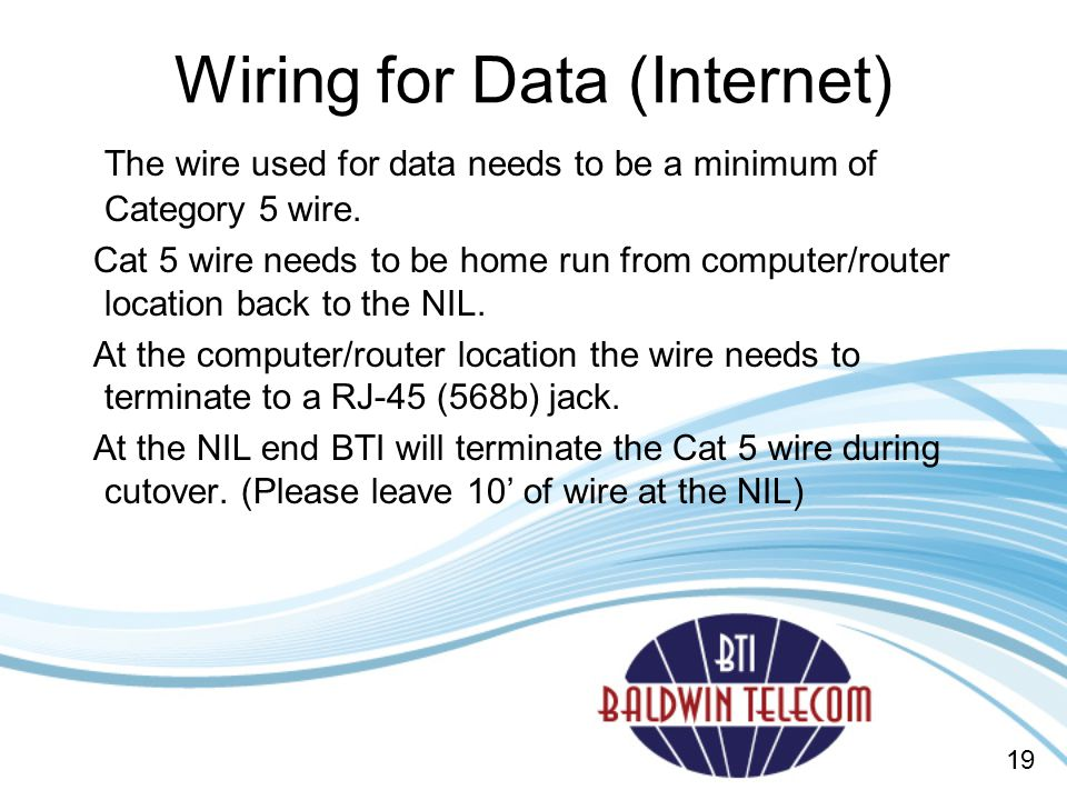 Wiring for Data (Internet)