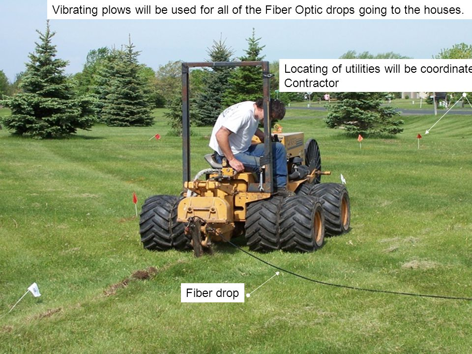 Vibrating plows will be used for all of the Fiber Optic drops going to the houses.