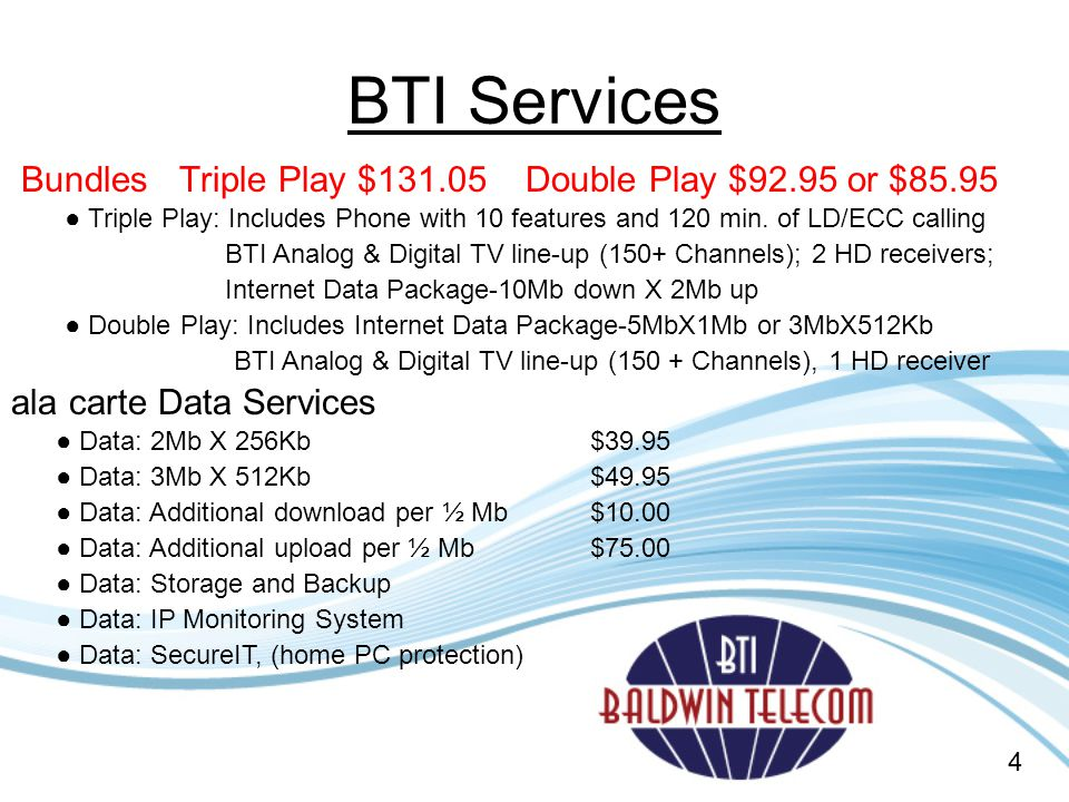 BTI Services Bundles Triple Play $131.05 Double Play $92.95 or $85.95