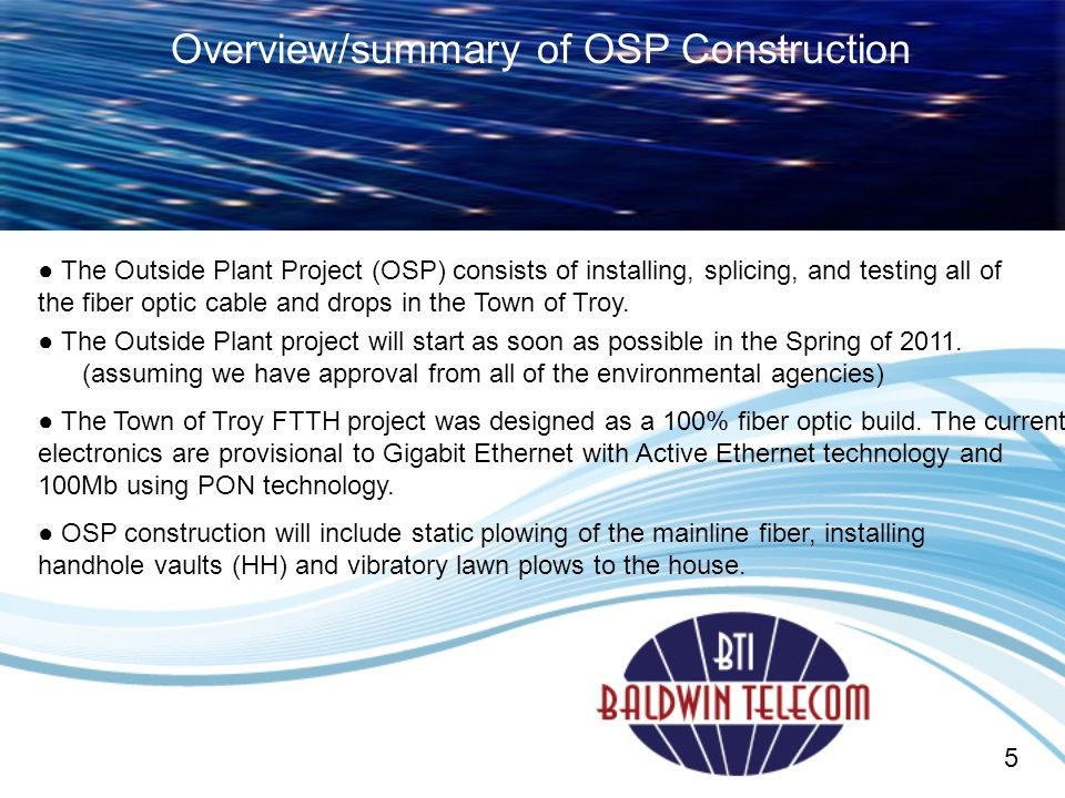 Overview/summary of OSP Construction