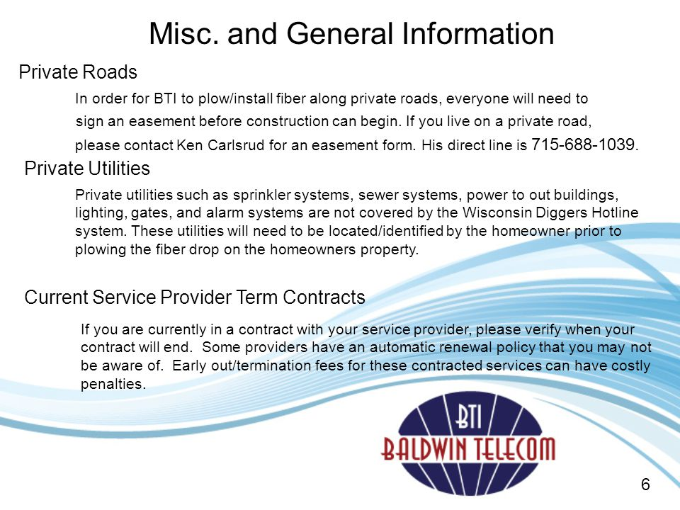 Misc. and General Information