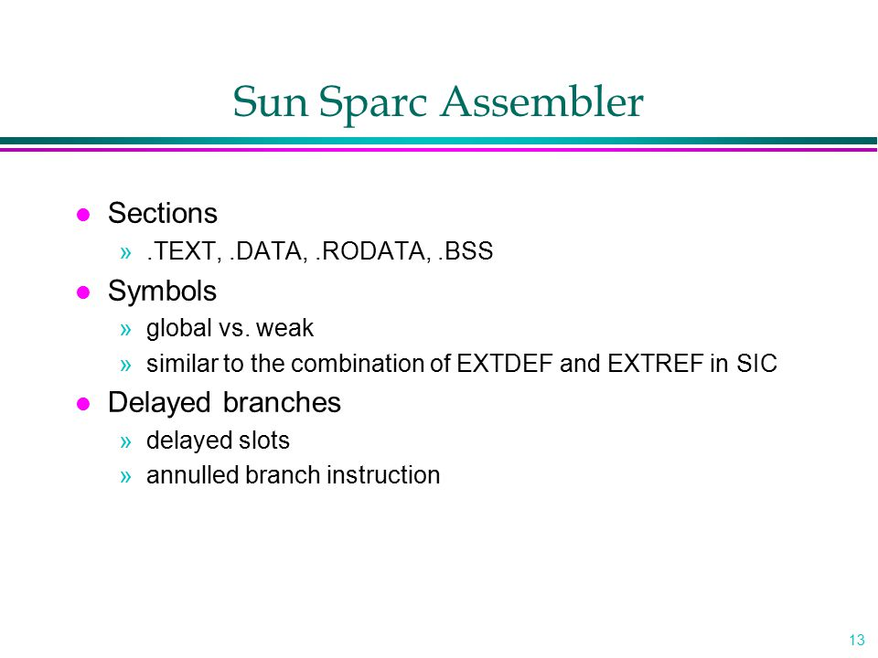 Sun Sparc Assembler Sections Symbols Delayed branches