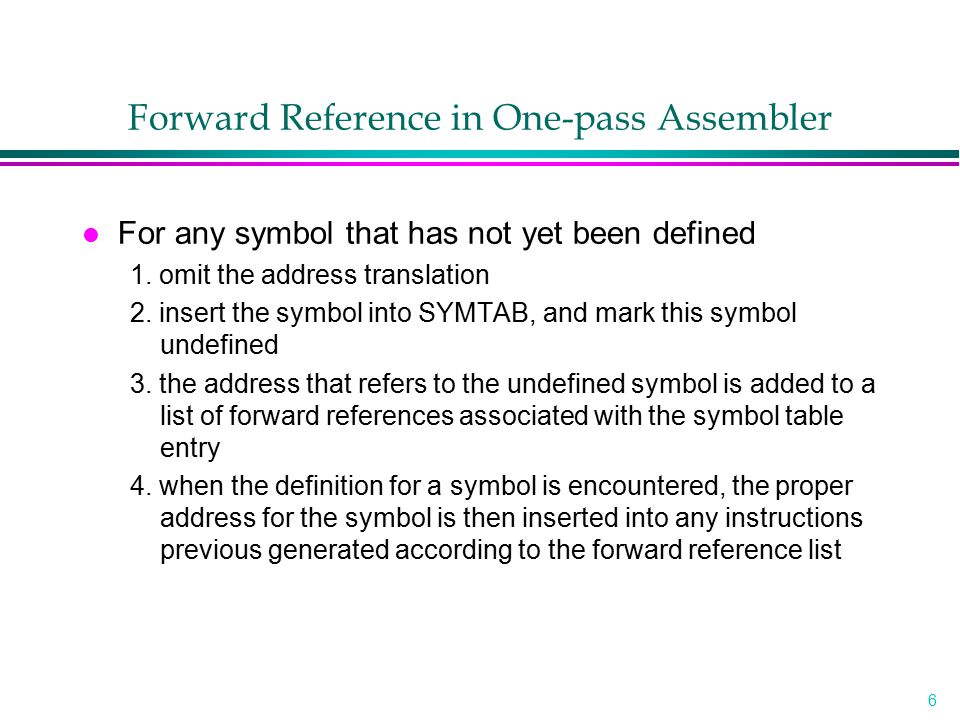 Forward Reference in One-pass Assembler