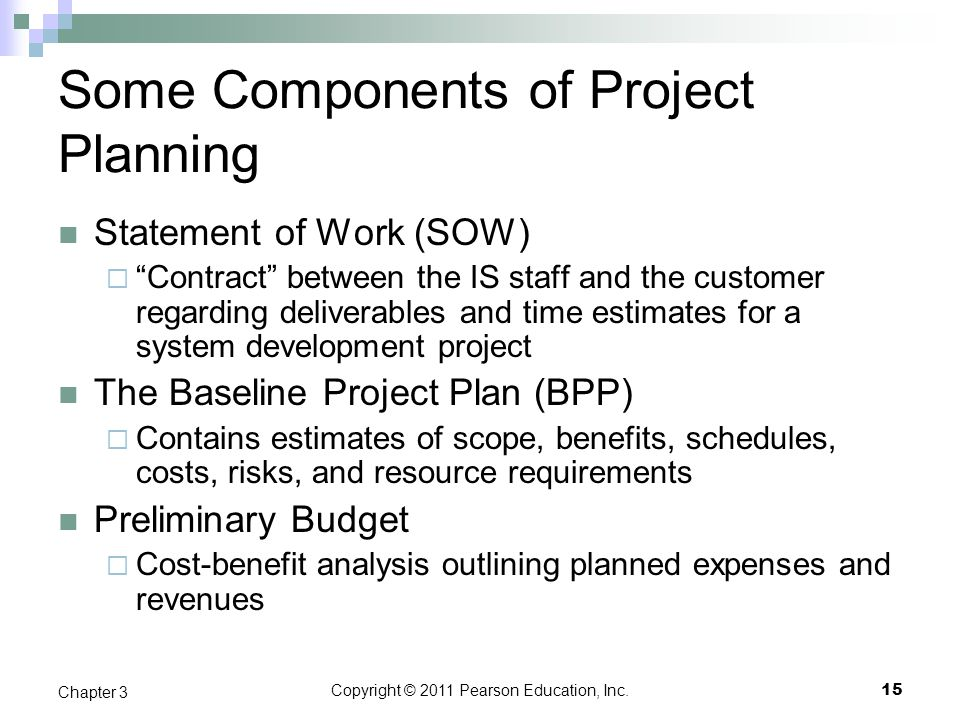Some Components of Project Planning