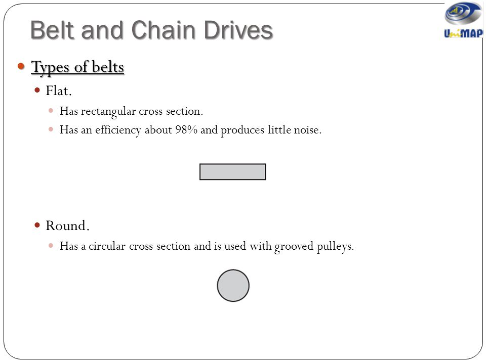 Belt and Chain Drives Types of belts Flat. Round.