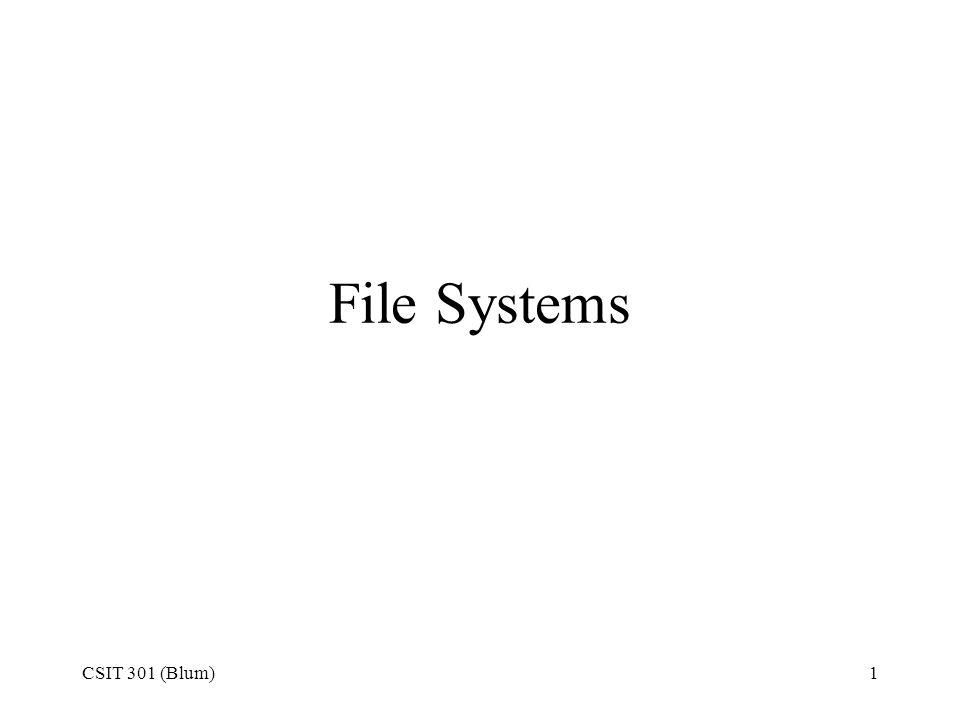 File Systems CSIT 301 (Blum)
