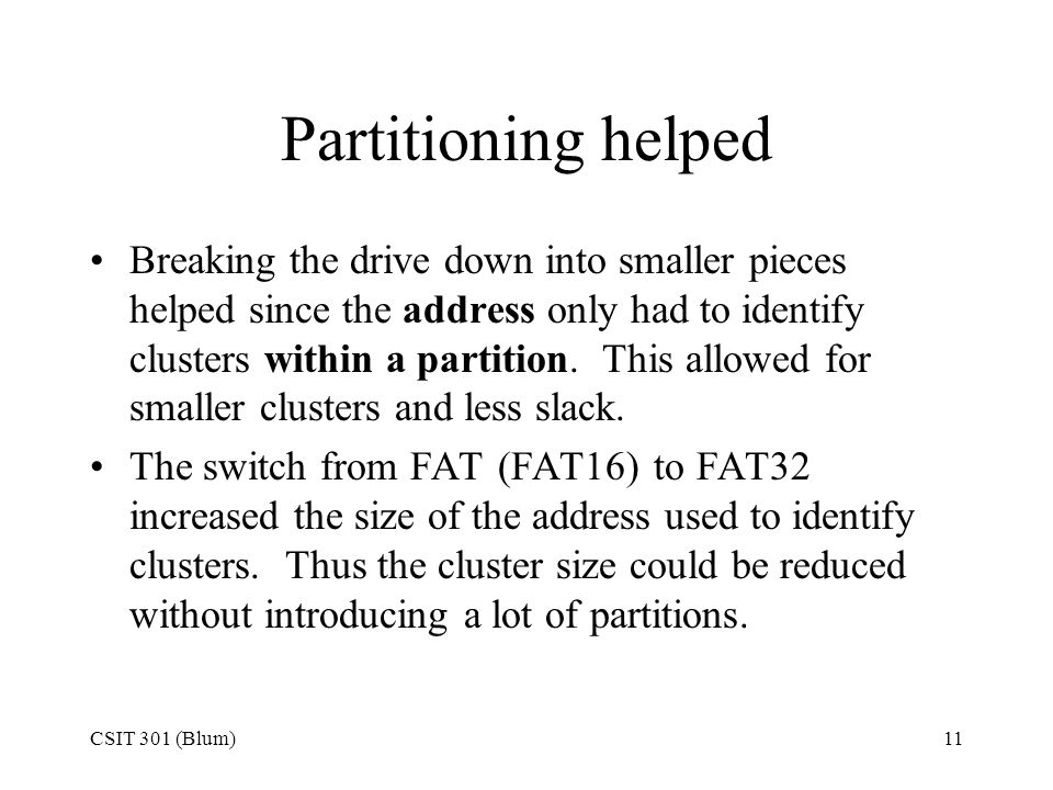 Partitioning helped