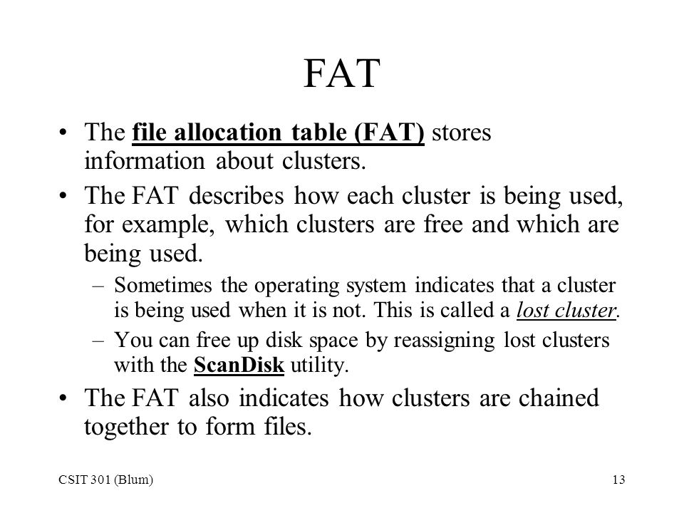 FAT The file allocation table (FAT) stores information about clusters.