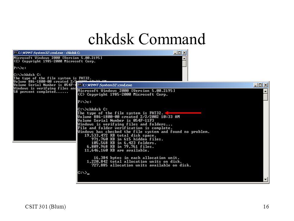 chkdsk Command CSIT 301 (Blum)