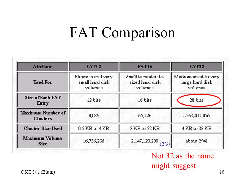 FAT Comparison (2G) Not 32 as the name might suggest CSIT 301 (Blum)