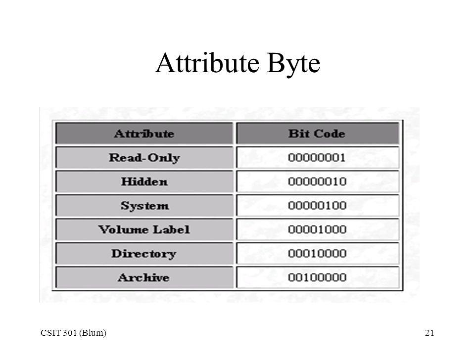 Attribute Byte CSIT 301 (Blum)