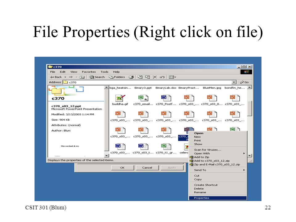 File Properties (Right click on file)