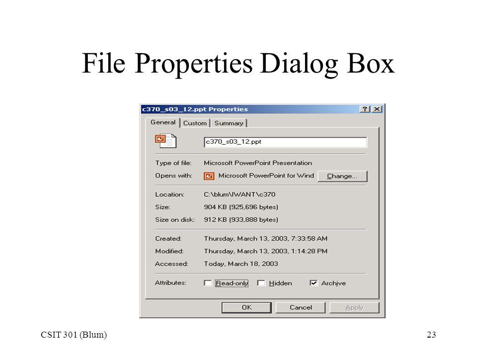 File Properties Dialog Box