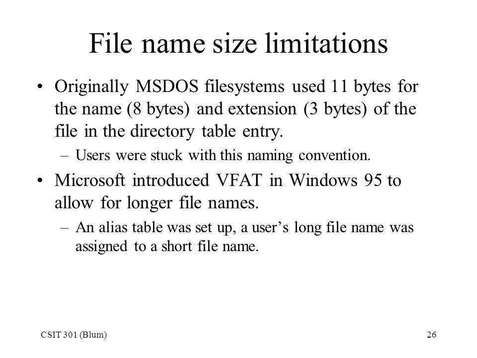 File name size limitations