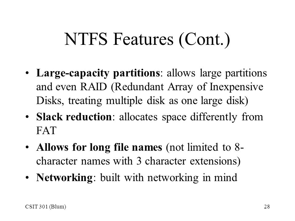 NTFS Features (Cont.)