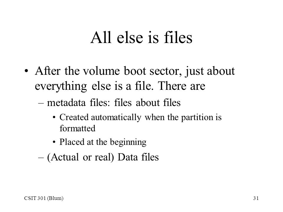 All else is files After the volume boot sector, just about everything else is a file. There are. metadata files: files about files.