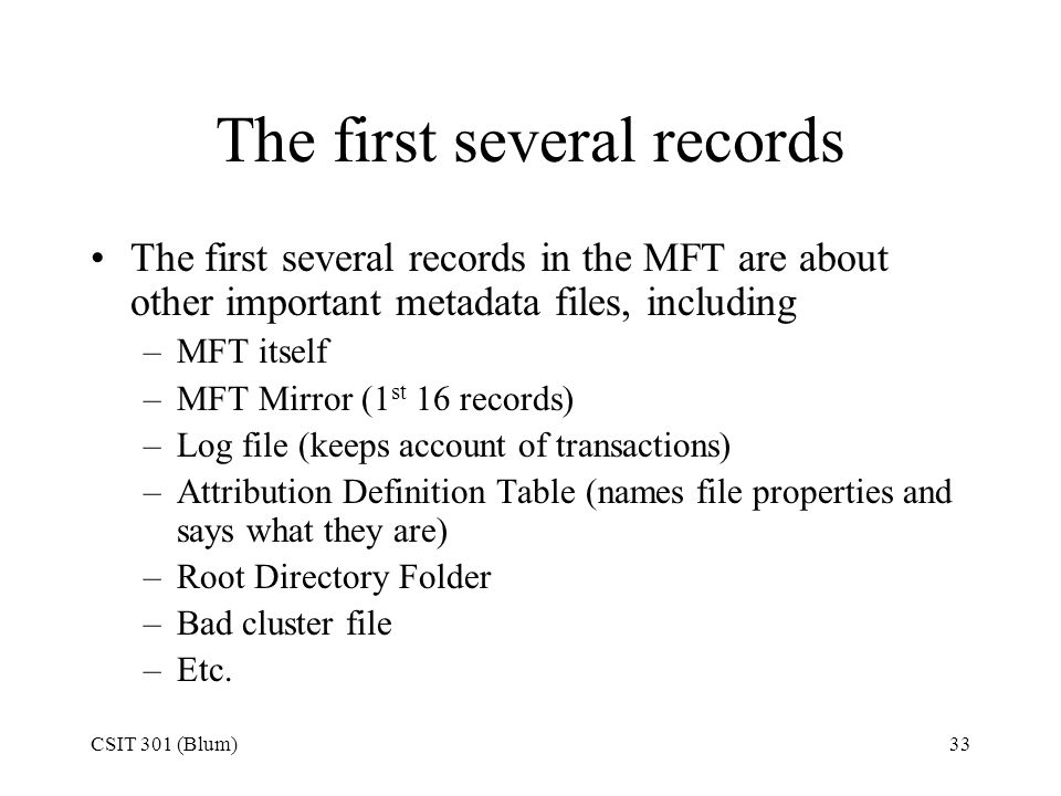 The first several records