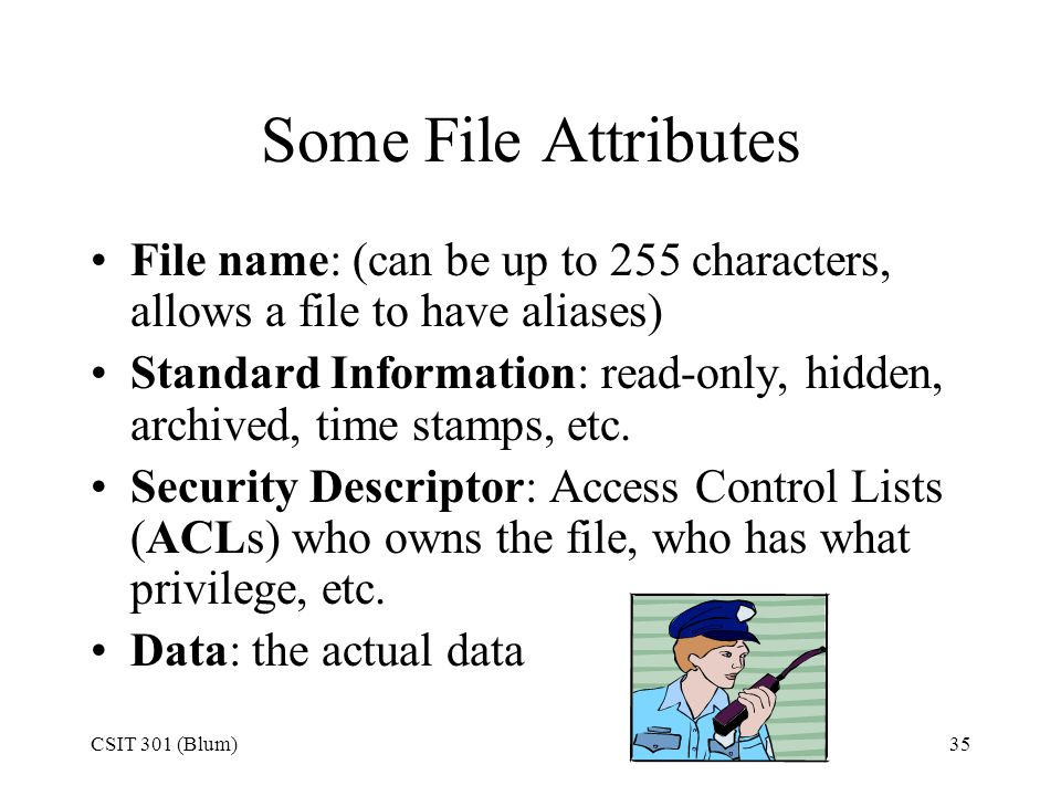 Some File Attributes File name: (can be up to 255 characters, allows a file to have aliases)