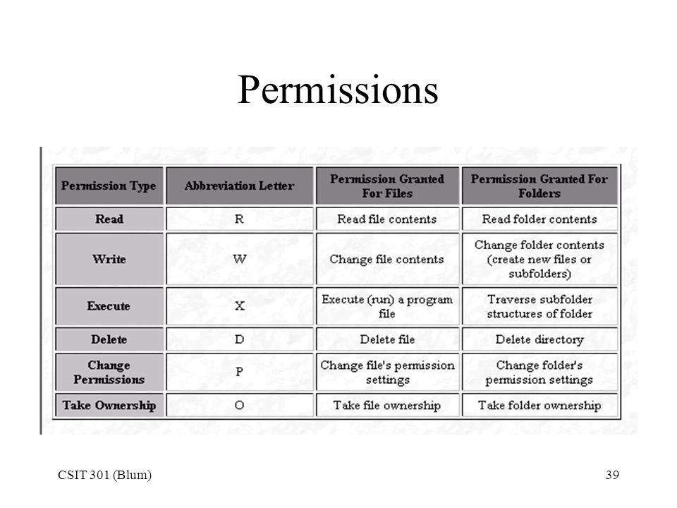 Permissions CSIT 301 (Blum)